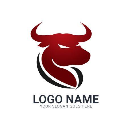 Red bull silhouette head. Modern bull logo design.