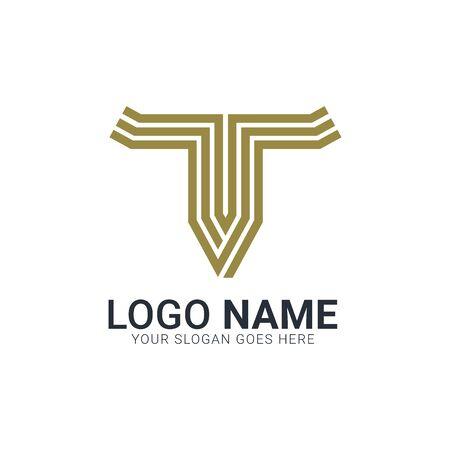 Abstract golden bull head. Modern bull logo design.