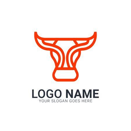 Bull logo with dark line and orange color. Modern Bull logo design.