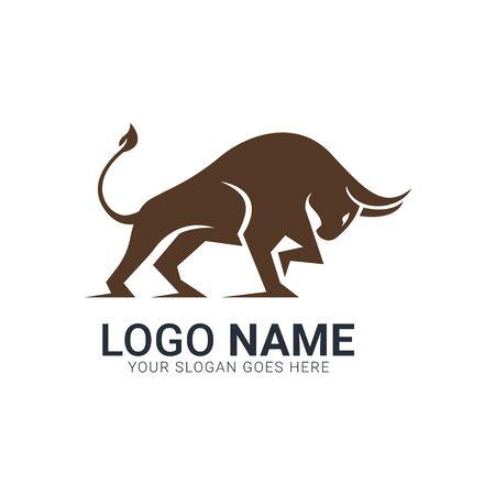 Golden brown bull silhouette.Modern bull logo design.