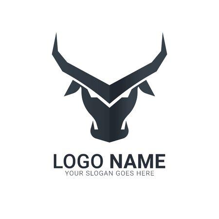 Black bull head silhouette.Modern bull logo design. Illustration