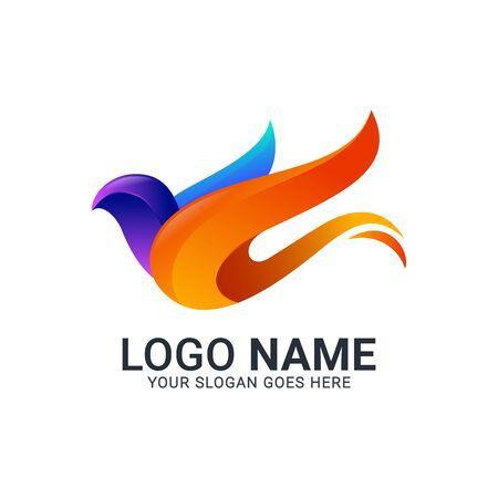 Modern Bird logo design. Vector animals logo editable design. Stok Fotoğraf - 129993460
