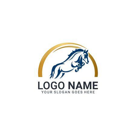Modern gold abstract horse logo design. Animal logo design. Editable logo design