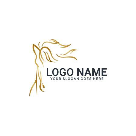 Modernes goldenes abstraktes Pferdelogodesign. Tierlogo-Design. Bearbeitbares Logo-Design