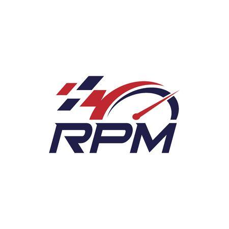 RPM automotive logo design. Editable abstract logo design Stock Illustratie