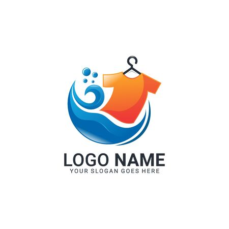 Modern laundry logo design. Editable logo design