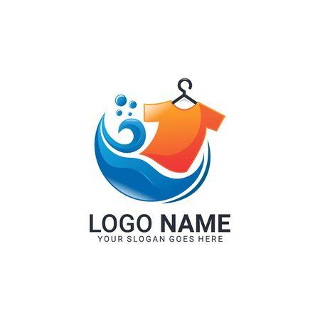 Modernes Logo-Design für die Wäscherei. Bearbeitbares Logo-Design