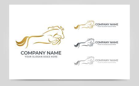 Modern gold abstract horse logo design. Animal logo design. Vector graphic illustration