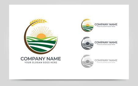 rice field plantations logo design. Editable logo design