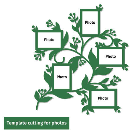Template frame for family photos for laser cutting.