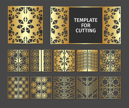 Set of laser cut template. Design wedding invitation, menu, seating plan and greeting card templates with gold marble texture on a black background. Collection luxury stencil for plotter cutting or printing.