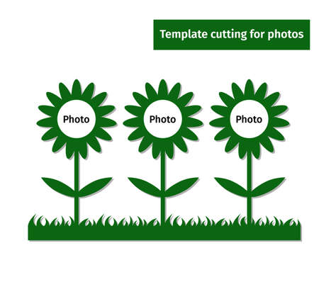 Laser cutting template for two photos. Collection of frames for a family photography. Collage design with sunflower.