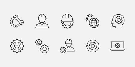 Engineering icon set. Settings, technology vector isolated for graphic, website and mobile design