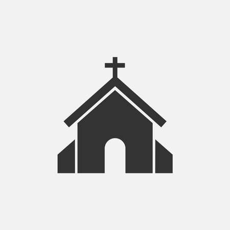 vector illustration of church icon. modern church flat symbol on grey background. vector icon for graphic, website and mobile design