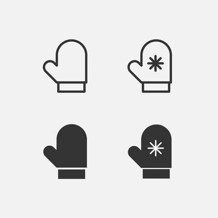 winter gloves icon. cold, winter, gloves vector symbol for web and mobile app on grey background. ui/ux element Vector Illustration