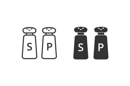 vector illustration of salt and pepper isolated icon. lineaar and filled style flat spice sign for mobile concept and web design