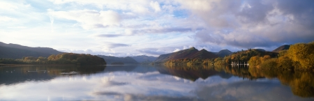 Derwent water in autumn colours in a panoramic format Stock Photo - 13637691