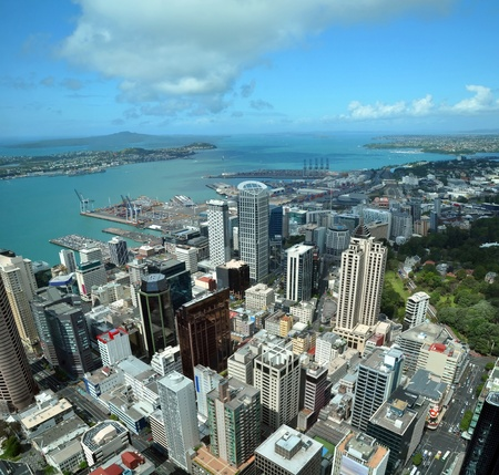 Auckland city   harbour vertical aerial panorama looking east to Rangitoto Island In the foreground are the buildings of the Central business district  In the background are the Port of Auckland, container wharf, Devonport, Mechanics Bay, Auckland Domain,