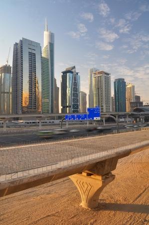 desert highway: An eight lane highway links Dubai with Abu Dhabi Stock Photo