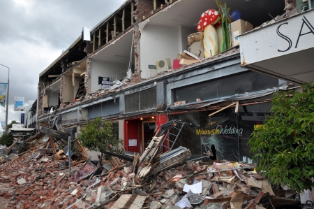 The popular Merivale fashion shopping centre is one of the worst hit areas after a massive erthquake this week.Christchurch is shaken to pieces by the latest and most devastating earthquake. Over 180 deaths have resulted with many more people still trappe Stock Photo - 12316099
