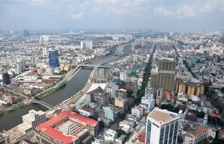 Panoramic aerial view of Ho Chi Minh City, Vietnam looking south from District One.