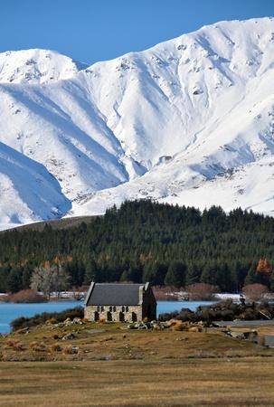 good shepherd: The Church of The Good Shepherd, on the shores of Lake Tekapo in a New Zealand winter wonderland