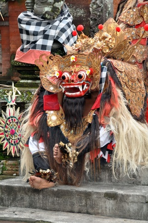 Bali, Indonesia - February 2012: Unidentified Barong actor enters the stage during the traditional Barong Dance.