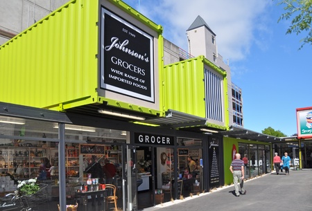 Iconic Christchurch grocery store Johnsons reopens in a shipping container after massive earthquake on November 03, 2011.