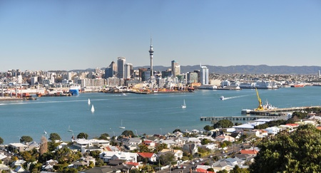 Panoramic view Auckland city, Waitemata Harbour and the suburb of Devonport in the foreground  Stock Photo