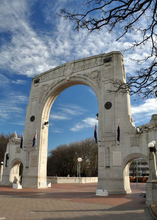 christchurch: The iconic Bridge of Remembrance war memorial in the Cashel Street Mall, Christchurch, New Zealand