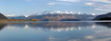 Panoramic view of Lake Wanaka and the Southern Alps of New Zealand  Pleanty of copy space available  photo