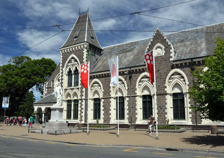 canterbury: CHRISTCHURCH, NEW ZEALAND - December 18, 2010:  The entrance to the historic Canterbury Museum on Rolleston Avenue on December 18, 2010 in Christchurch.