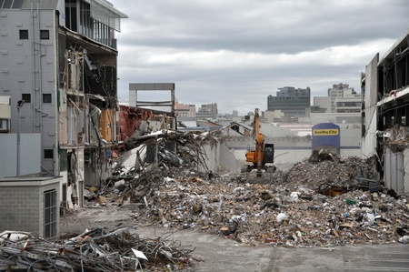 richter: Christchurch, New Zealand - April 01, 2011: A view of the southern Christchurch Central Business District (CBD) looking north from the Colombo Street overbridge after the devastating earthquake on the 22nd of February 2011 on April 01, 2011 in Christchurc