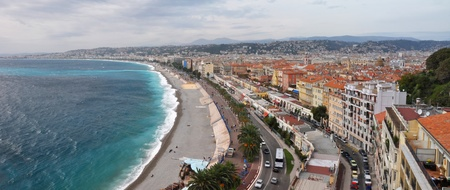 The Promenade des Anglais in Nice, Cote d Azur, France  photo