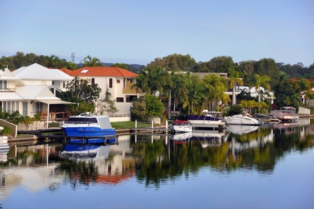 Noosa, Australia - July 05, 2009: The canals in beautiful Noosa Waters, Sunshine Coast, Queensland, Australia. Where you can tie up your boat on the jetty right next to your house.