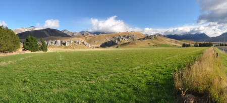 Panoramic view of Castle Hill, Canterbury New Zealand. In the background are limestone rock formations made famous in the Hobit and Lord of The Rings films. photo