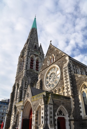 Christchurch Anglican Cathedral in New Zealand prior to the deavastating earthquake of February 2011 which destroyed the magnificent spire and stained glass windows over the entrance    photo