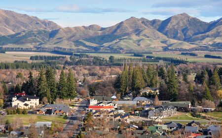 The popular spa town of Hanmer set in the mountains of Canterbury, New Zealand