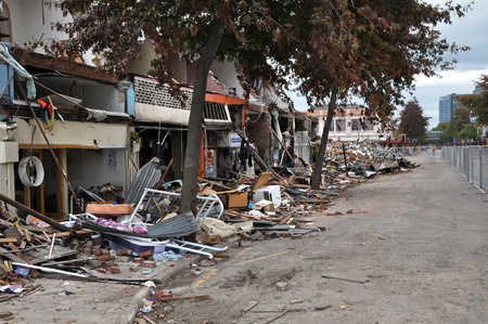 Christchurch Earthquake - Total Devastation in Colombo Street. Editorial