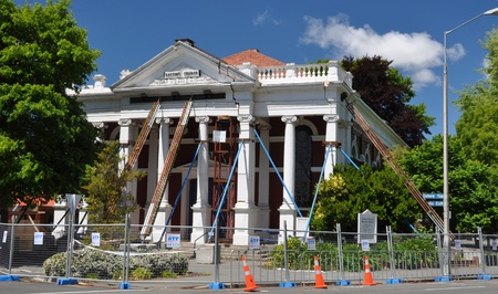Christchurch, New Zealand - November 2010: Steel props are  erected to try and save the Madras Street Baptist Church building on November 21, 2010 after a major earthquake in Christchurch.