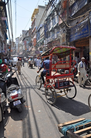new delhi: Delhi, India - April 11, 2011: A rickshaw in one of the world