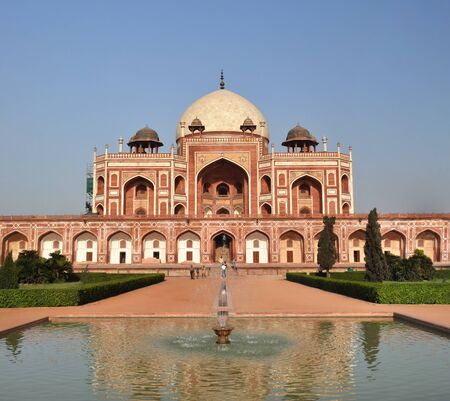 New Delhi, India - April 09, 2012: Vertical Panoramic view of Humayun