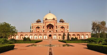 new delhi: Panoramic view of Humayuns Tomb - one of the most famous Mughal buldings in New Delhi, India