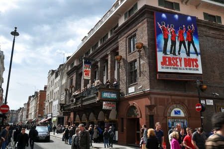 London, United Kingdom - April 22, 2012: Jersey Boys at the Prince Edward Theatre, based on the music of Frankie Valli & The four Seasons  is the most popular Musical on the West End.