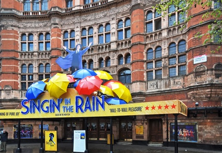 London, United Kingdom - April 219, 2012: Singing In The Rain Musical production at the Palace Theatre in the West End of London receives five stars from critics.