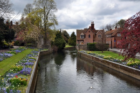 The beautiful river and gardens in the historic town of Canterbury, England, United Kingdom. Stock Photo