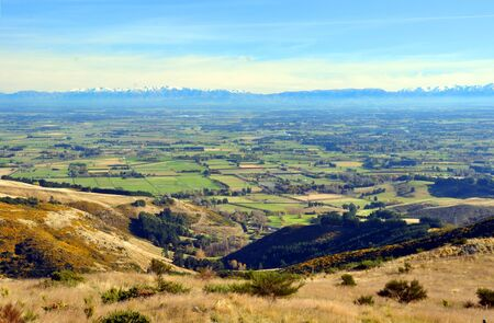 A perfect Autumn day overlooking the Canterbury plains from the top of the Port Hills  In the background are the Southern Alps  Christchurch, New Zealand
