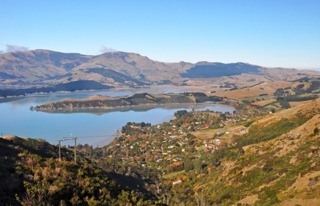 christchurch: A beautiful Autumn day overlooking Governors Bay and Lyttleton Harbour from the top of the Port Hills  Christchurch, New Zealand
