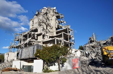Christchurch, New Zealand - May 27, 2012: The destruction of the Terrace On The Park apartments building  on Park Terrace is almost complete. The building suffered considerable damage in the earthquakes was deemed unsafe and has been deserted ever since. Editorial