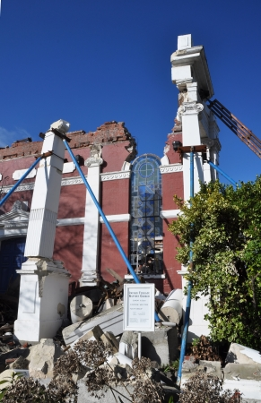 christchurch: Christchurch, New Zealand - May 28, 2011: Baptist Church is destroyed by a devastating earthquake.
